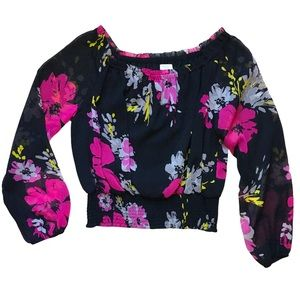 Floral Off The Shoulder Blouse w Sleeves 14Petite
